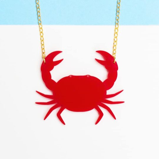 collier petit crab face rouge