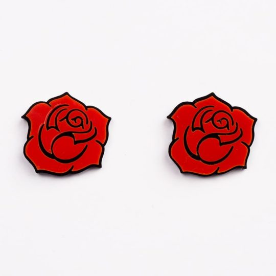 Boucles-stud-gipsy-roses-rouge