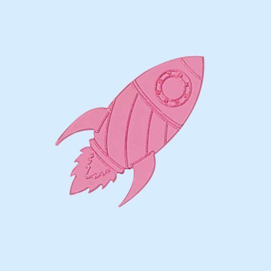 pin's fusée rose miroir juleetlily cosmic