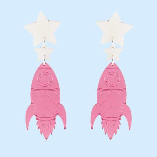 boucles d'oreilles fusée rose juleetlily cosmic