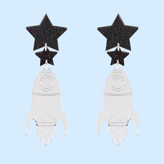 boucles d'oreilles fusée silver, jule et lily, cosmic